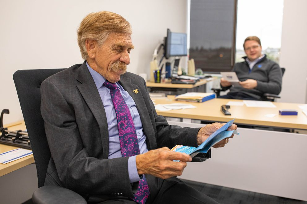 Rep. Laddie Shaw, R-Anchorage, reads mail with his chief of staff Josh Walton Thursday, Sept. 19, 2019 in his office at the Anchorage Legislative Information Office. (Loren Holmes / ADN)