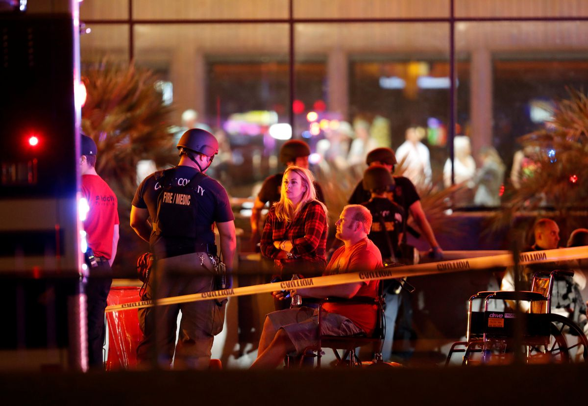 People wait in a medical staging area on October 2, 2017, after a mass shooting during a music festival in Las Vegas, Nevada, U.S. REUTERS/Las Vegas Sun/Steve Marcus