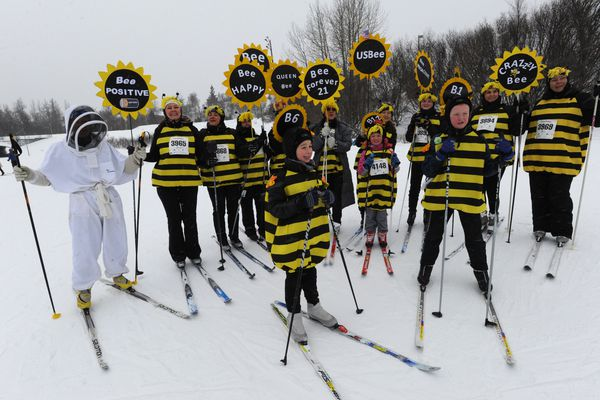 Polar Bees during the 23rd annual Alaska Ski for Women at Kincaid Park on Sunday, Feb. 3, 2019. Donations from the women-only cross country ski event has contributed over $1 million to groups that actively work to improve women's lives and help stop the cycle of domestic abuse against women and children. (Bill Roth / ADN)