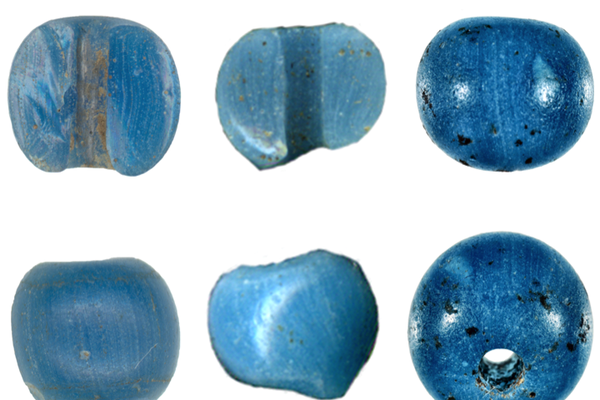 """Glass beads made in Venice that archeologists found in northern Alaska. Photo courtesy January 2021 paper """"A Precolumbian Presence of Venetian Glass Trade Beads in Arctic Alaska,"""" in the journal American Antiquity, by Michael Kunz and Robin Mills."""
