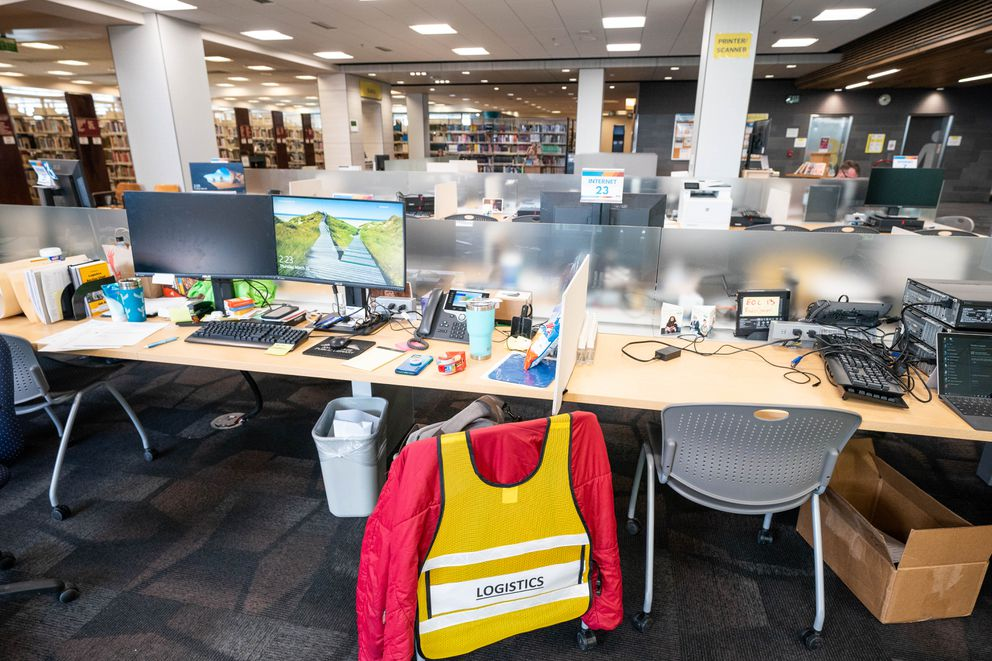 The logistics group is set up in the new municipal emergency operations center on Thursday, March 26, 2020 at the Loussac Library in Anchorage. (Loren Holmes / ADN)