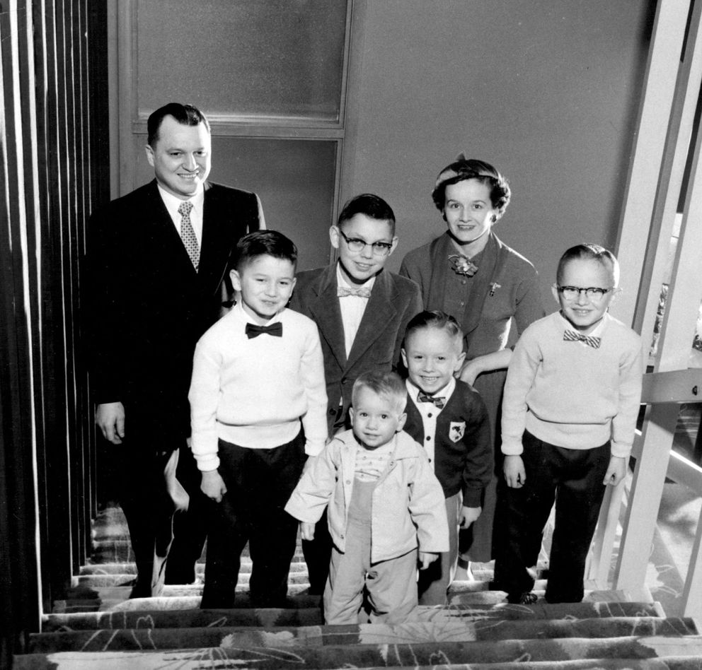Walter and Ermalee Hickel and family pose for a holiday photo in December of 1955. (Ward Wells / Anchorage Times archive 1955)