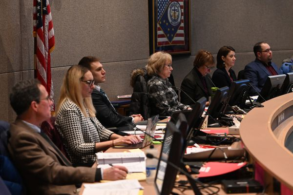 Anchorage Assembly members listen to public testimony on proposed tax measures during an assembly meeting on Tuesday evening, Jan. 28, 2020. (Bill Roth / ADN)