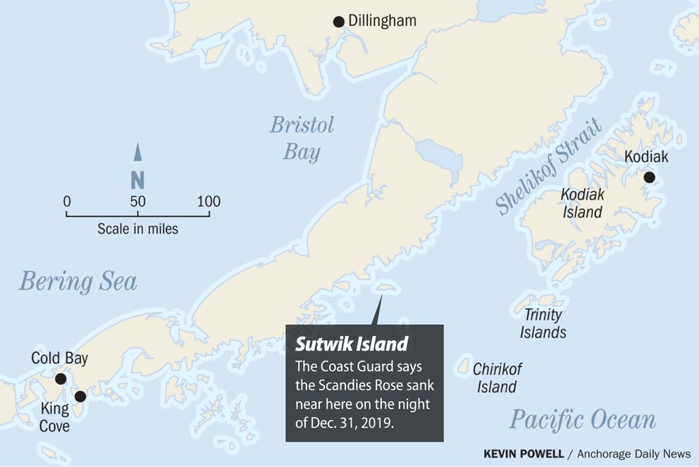 The Coast Guard says the Scandies Rose sank near Sutwik Island on the night of Dec. 31, 2019.