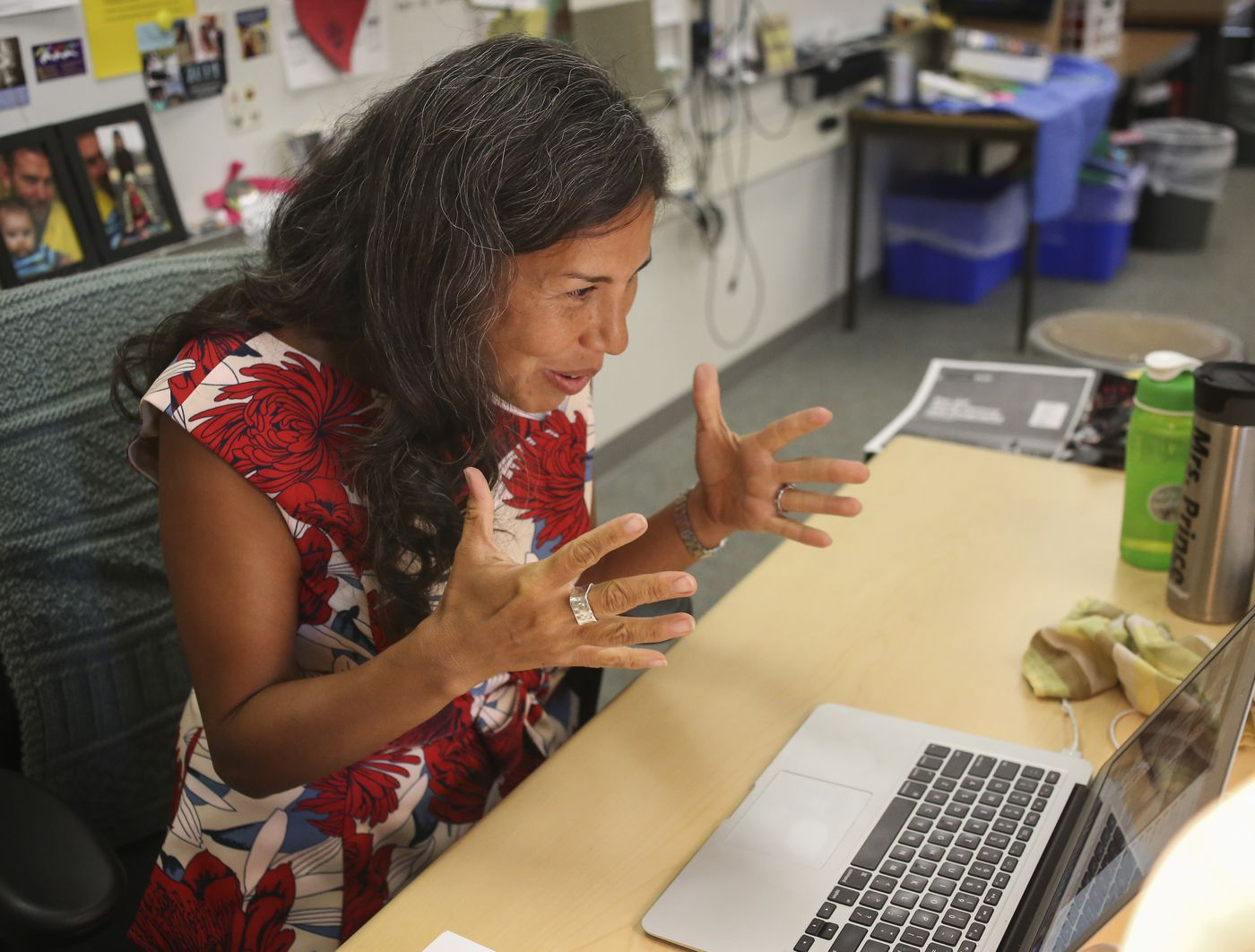 Lynda Prince teaches her first class of the school year, ninth grade pre-Advanced Placement world history and geography, remotely from her classroom on the first day of school at Bartlett High School on Aug. 20, 2020. (Emily Mesner / ADN)