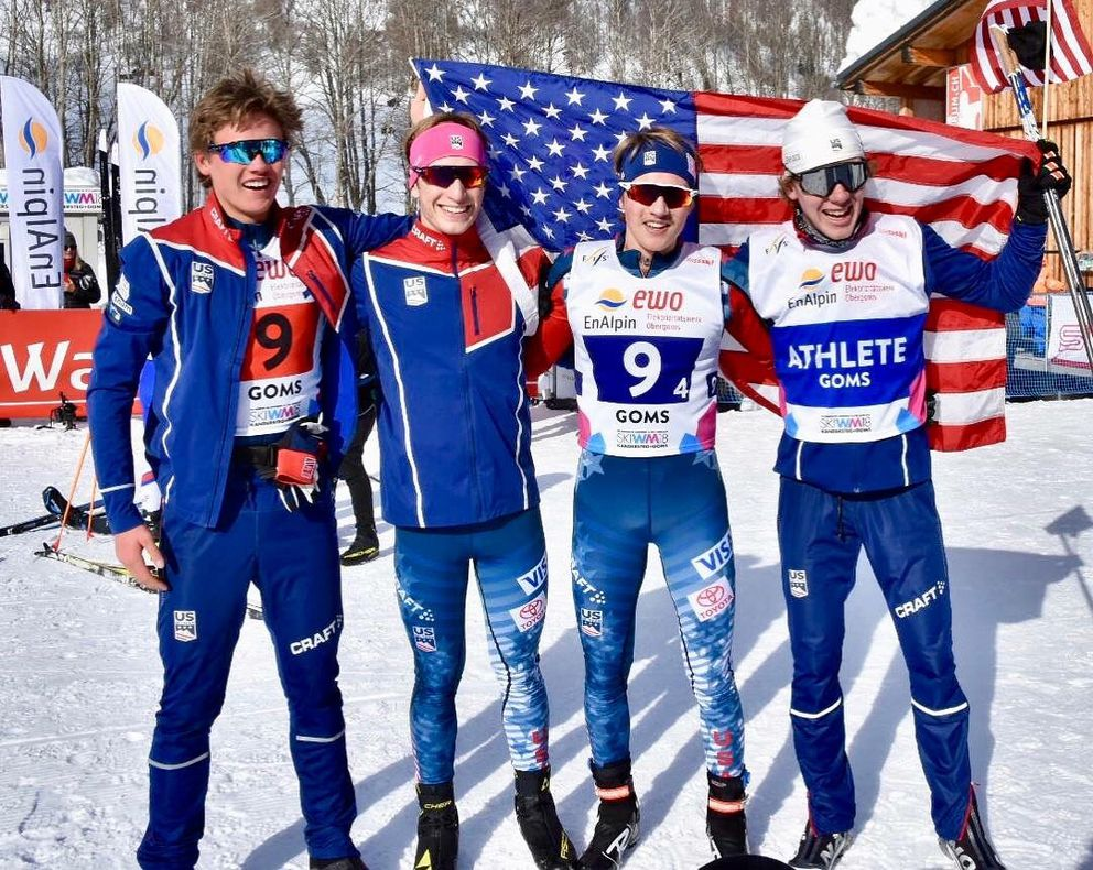 In the final day of racing at the World Junior Championships in Goms, Switzerland, the U.S. World Junior's relay team (4x5K) of Luke Jager, Hunter Wonders, Gus Schumacher and Ben Ogden, raced to a historic finish placing second for the first time ever for a U.S. team at these Championships on Saturday. (Photo by Glenn Gellert)