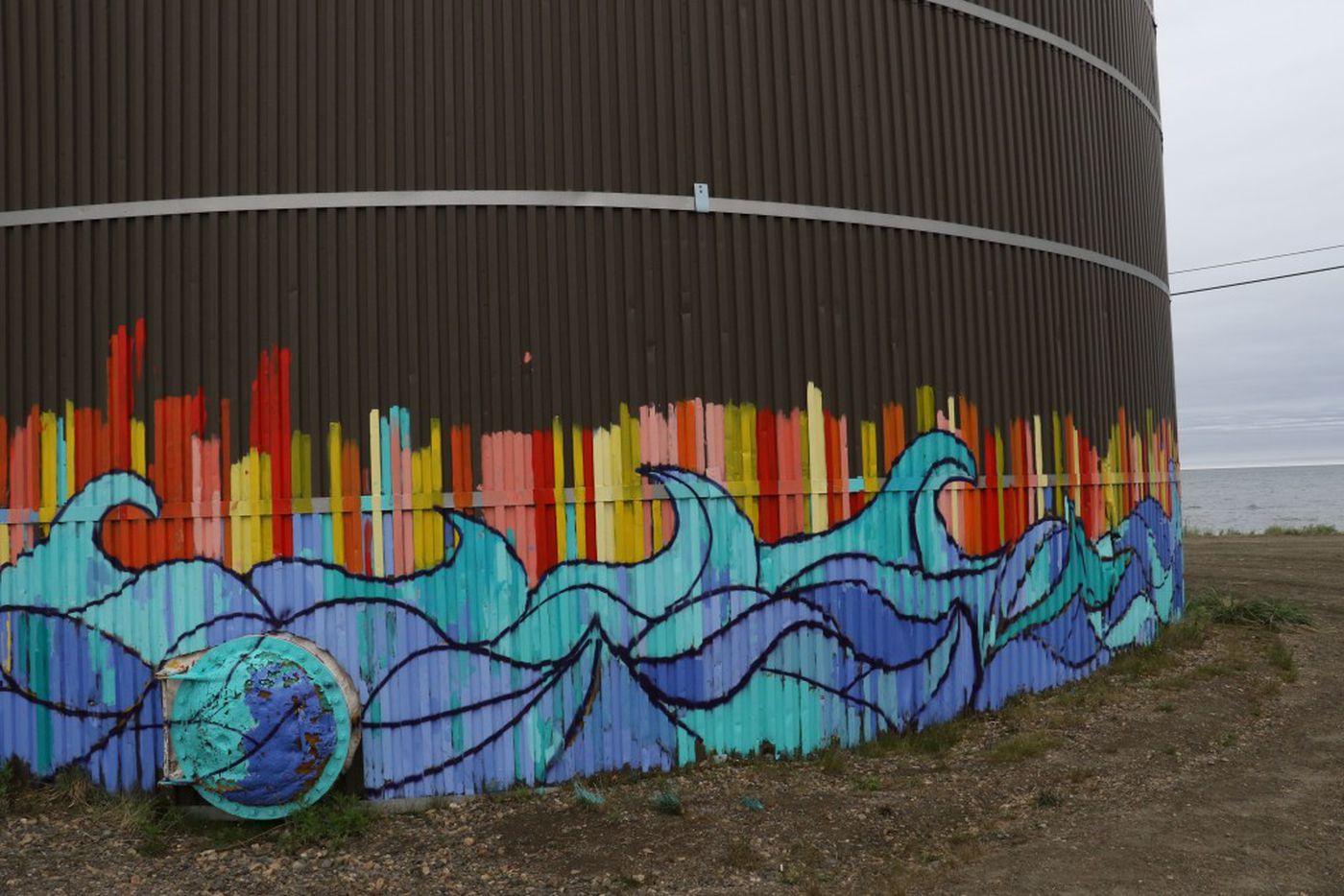 Water tank mural painted by the kids in Deering, Alaska. (Photo by Bailey Berg / Alaska Dispatch News)