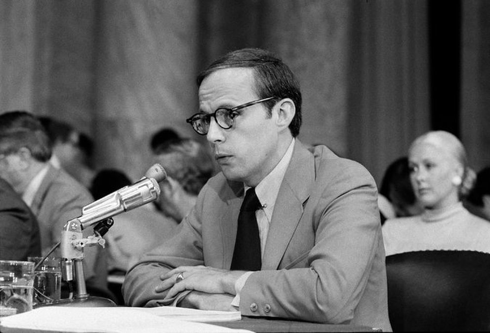 John Dean testifies before the Senate Watergate committee in 1973. (George Tames /The New York Times)
