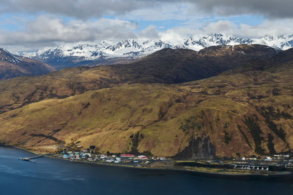The town of Old Harbor is visible during a flight over Kodiak Island on May 14, 2019. (Marc Lester / ADN)