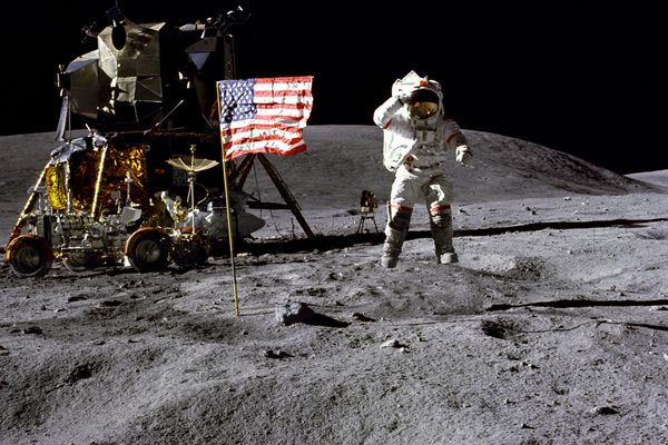 John Young salutes the U.S. flag on the moon during the Apollo 16 mission in April 1972. Young, who went on to command the first shuttle mission in 1981 during a four-decade career at the space agency, died at home in Houston on Jan. 5, 2018. He was 87. (Charles M. Duke Jr./NASA via The New York Times)