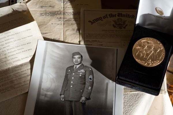 Alfredo Agron, who died in 2015 at age 104, was recently awarded the Congressional Gold Medal posthumously. The award recognized the service of Filipinos and Filipino-Americans who assisted the U.S. in World War II. His family received the award on his behalf. (Marc Lester / Alaska Dispatch News)