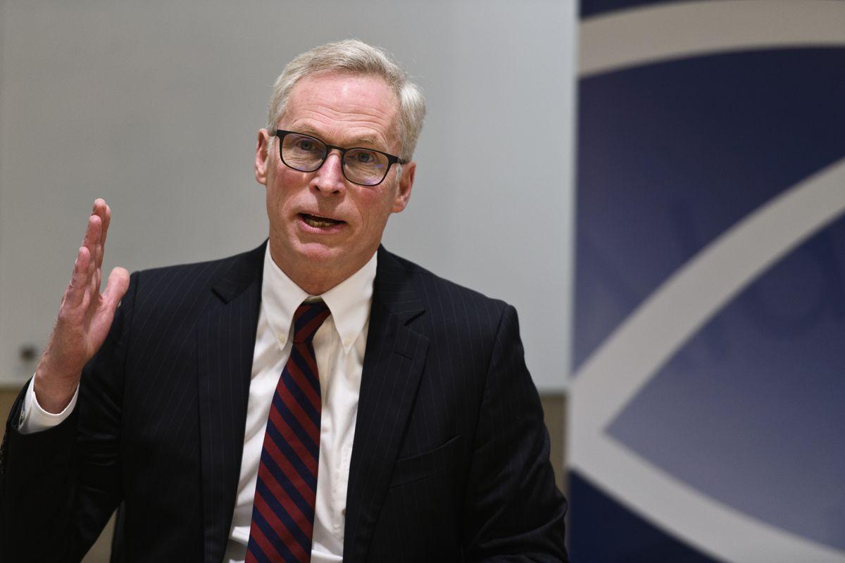 University of Alaska president Jim Johnsen at a press conference at UAF on February 13, 2019. (Marc Lester / ADN archive)