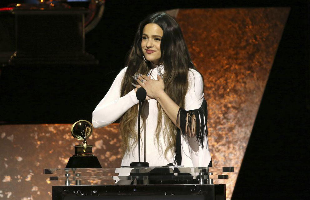 Rosalia accepts the award for best Latin rock, urban, or alternative album for 'El Mal Querer ' at the 62nd annual Grammy Awards on Sunday, Jan. 26, 2020, in Los Angeles. (Photo by Matt Sayles/Invision/AP)