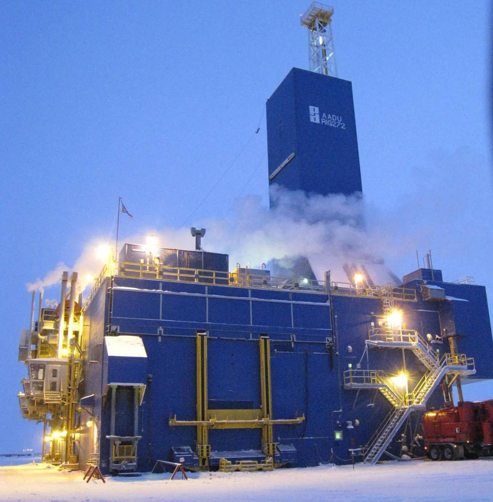 A Parker Drilling rig under contract to BP was used by researchers in December to drill multiple wells from an old exploration pad at Prudhoe Bay as part of a multi-year project to better understand methane hydrate formations abundant on the North Slope and around the world. (Courtesy Japan Oil, Gas and Metals National Corp.)