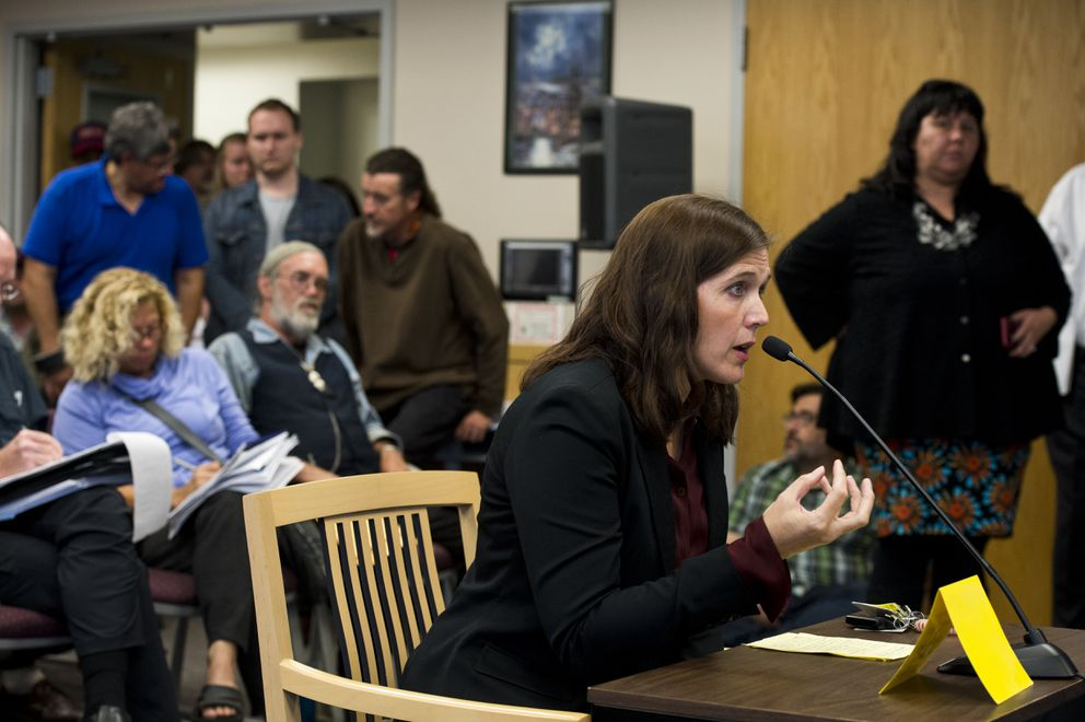 Lisa Aquino, executive director of Catholic Social Services, speaks at the special meeting of Anchorage Assembly's Committee on Homeless. (Marc Lester / ADN)