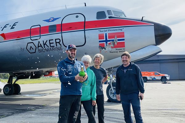 Thomas Waerner and his champion Iditarod dogs arrived back to his home in Norway after flying aboard an old DC-6 cargo plane, June 2, 2020. (Photo provided by QRILL Paws)