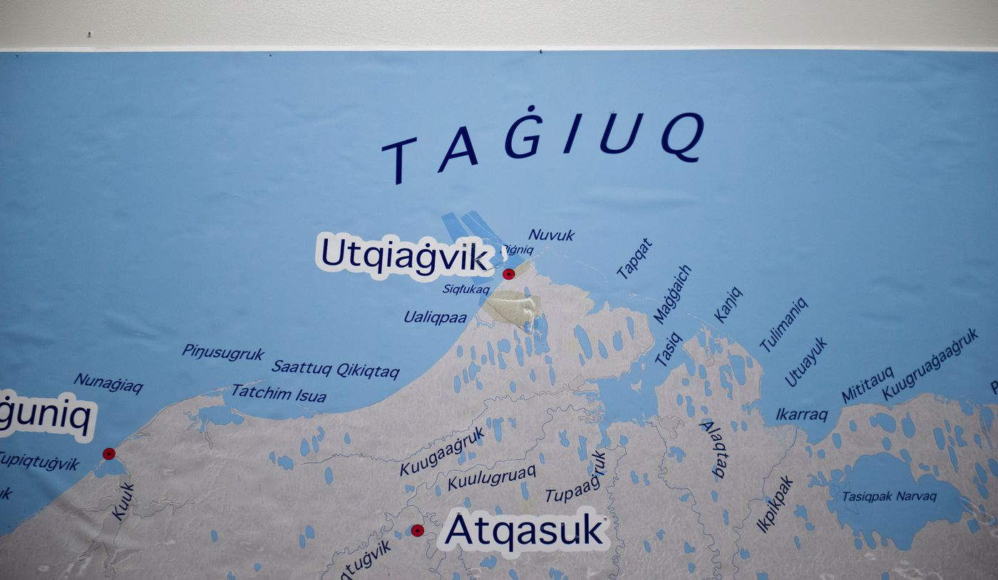 A large map showing Inupiaq language place names shows the city of Barrow as Utqiaġvik at the Iñupiat Heritage Center. (Marc Lester / Alaska Dispatch News)
