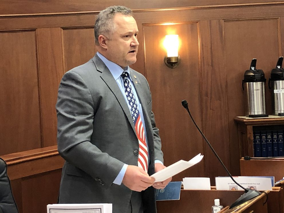 Sen. Mike Shower, R-Wasilla, speaks against the proposed Alaska state budget early Sunday morning, March 29, 2020. (James Brooks / ADN)