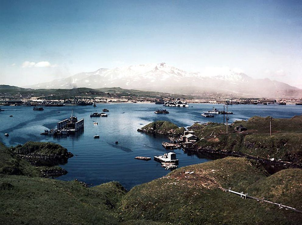 Naval Operating Base at Adak in the summer of 1944. (U.S. Navy)