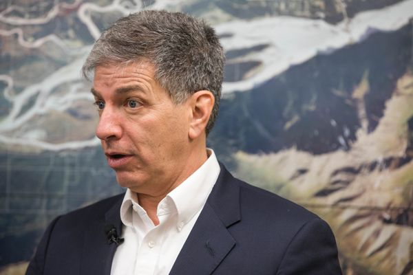 Anchorage Mayor Ethan Berkowitz announces a settlement with Eklutna, Inc. over the sale of methane gas produced by trash in the city's landfill, Wednesday, Jan. 4, 2017 at the Eklutna, Inc. offices in Eagle River. The Native corporation sued the city in 2013 over the sale of the gas, used at a power plant supplying electricity to Joint Base Elmendorf-Richardson, saying it was owed half of the revenue from the landfill. (Loren Holmes / Alaska Dispatch News)
