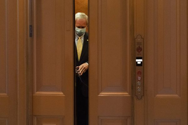 Sen. Ron Johnson, R-Wis., rides the elevator after a vote in the Senate chamber, Tuesday, Sept. 8, 2020, on Capitol Hill in Washington. (AP Photo/Jacquelyn Martin)
