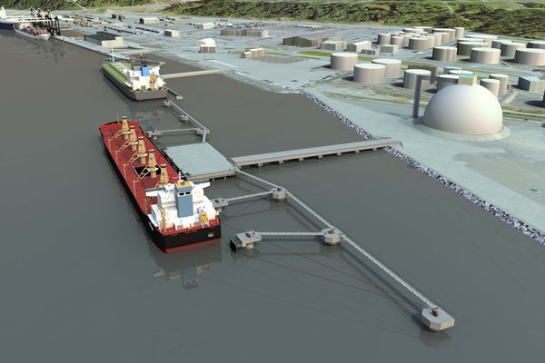 An artist's rendering of the petroleum and cement terminal the Port of Alaska will start construction on this spring. The project is expected to be completed in fall of 2021. (Rendering provided by the Port of Alaska)