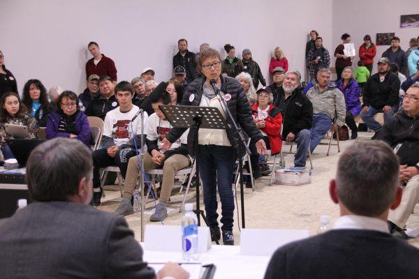 Anuska Wysoki of Koliganek speaks to EPA staffers at Wednesday's listening session. (KDLG)