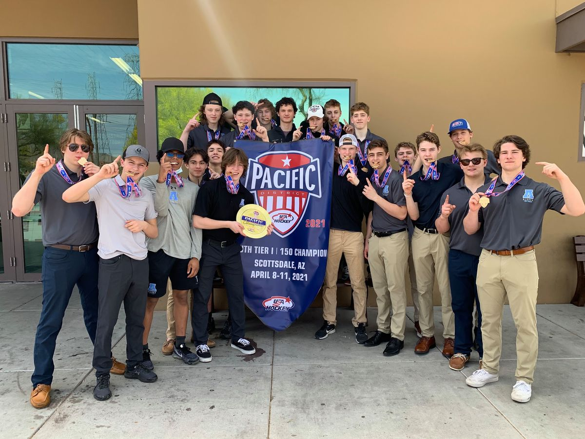 The Team Alaska Tier I 15U boys hockey team is one of eight Alaska youth teams headed to national tournaments next week. Team Alaska qualified by winning the Pacific District championship on April 11, 2021, in Scottsdale, Arizona. Photo by Heidi Embley.