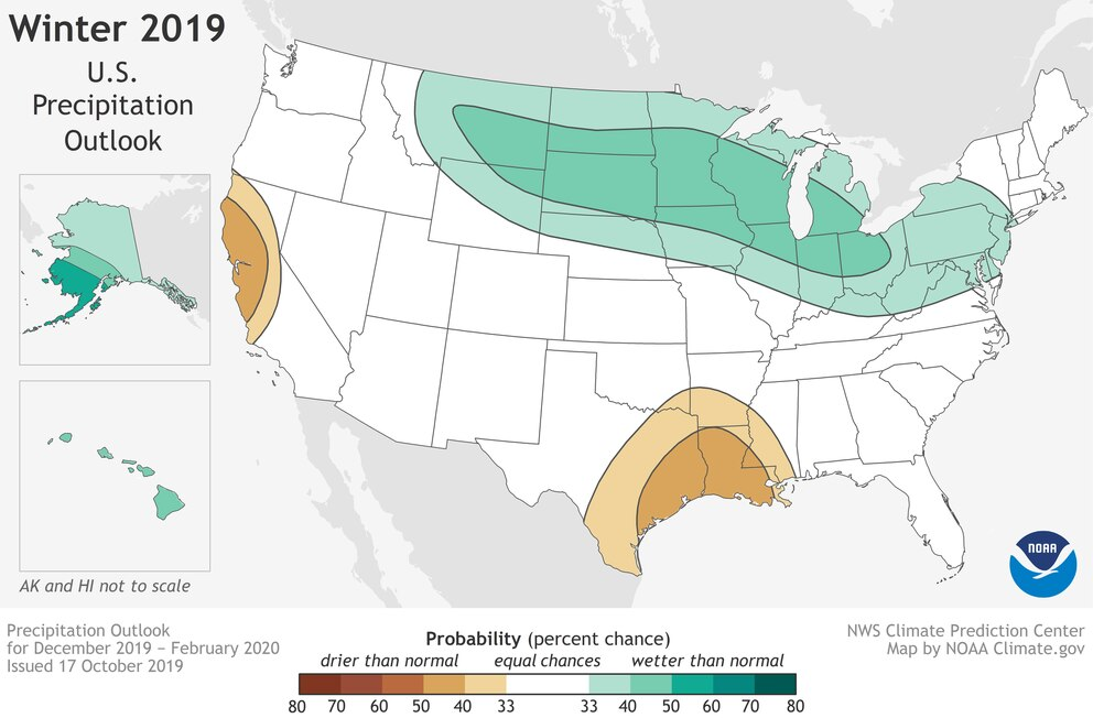 Higher than normal precipitation is expected for Alaska this winter, according to an outlook covering December-February from NOAA's Climate Prediction Center. (NOAA map)