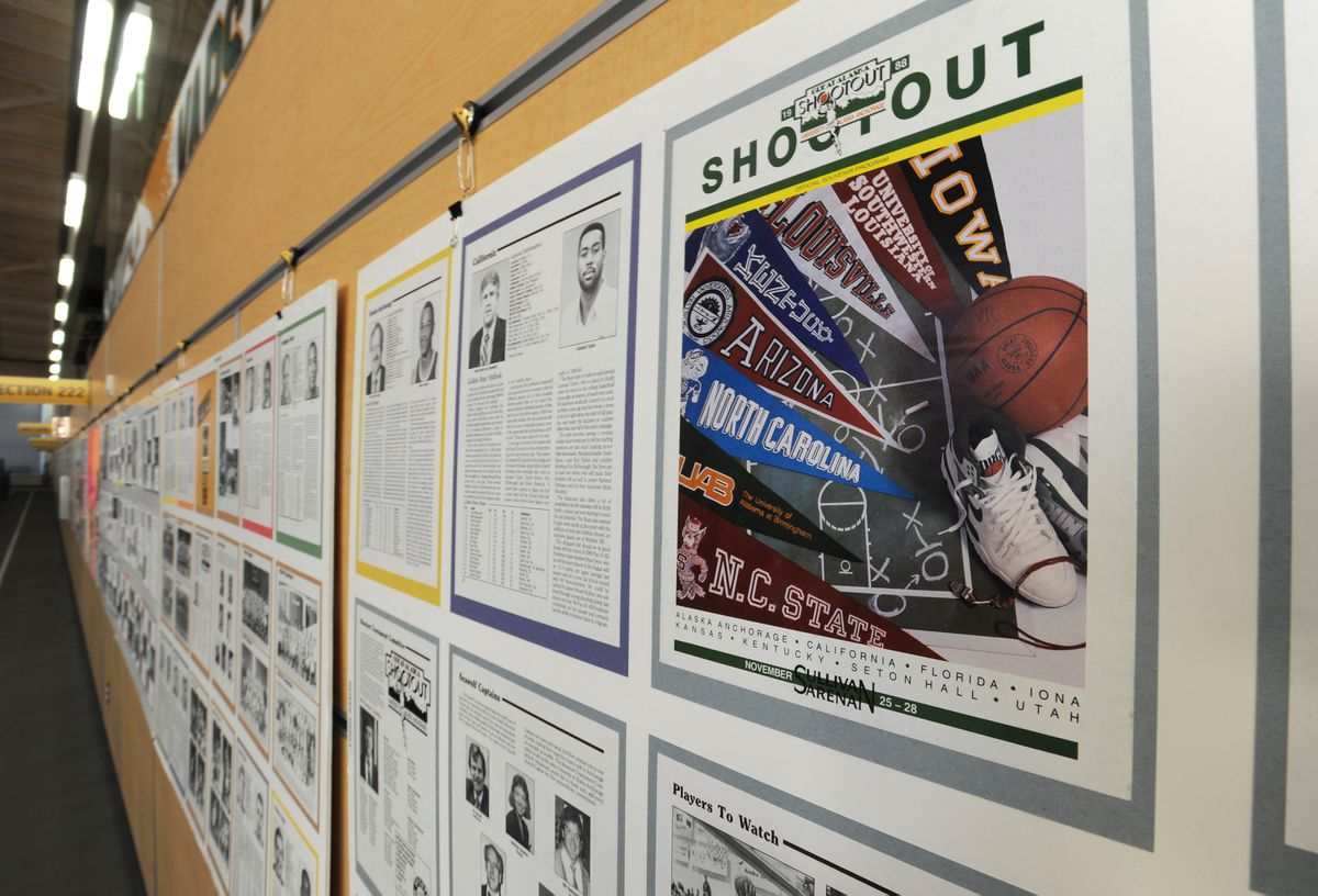 A souvenir program from the 1988 Great Alaska Shootout is part of an Alaska Airlines Center display for the 40th and final edition of the college basketball tournament. (Bill Roth / ADN)