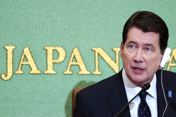 U.S. Ambassador to Japan William Hagerty speaks during a press conference in Tokyo Friday, Nov. 16, 2018. (AP Photo/Eugene Hoshiko)