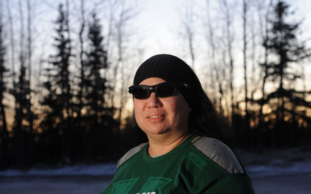 Samantha Atlas, who works as a psychiatric nursing assistant at the Alaska Psychiatric Institute, was assaulted by a patient in November 2016 and is still recovering from her injuries. Atlas wears sunglasses because of the brain injury she sustained in the attack. (Bill Roth / ADN)