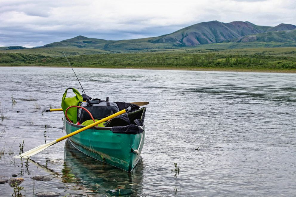 A boat rests on the waters of the Noatak River, Noatak National Preserve. July 2012. (Photo courtesy National Park Service)