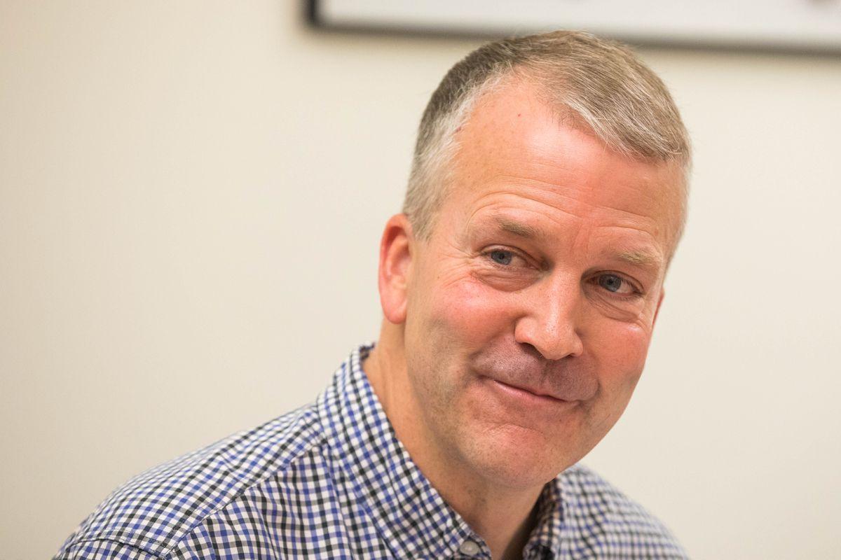 Sen. Dan Sullivan speaks with the ADN editorial board Friday, Aug. 3, 2018. (Loren Holmes / ADN)