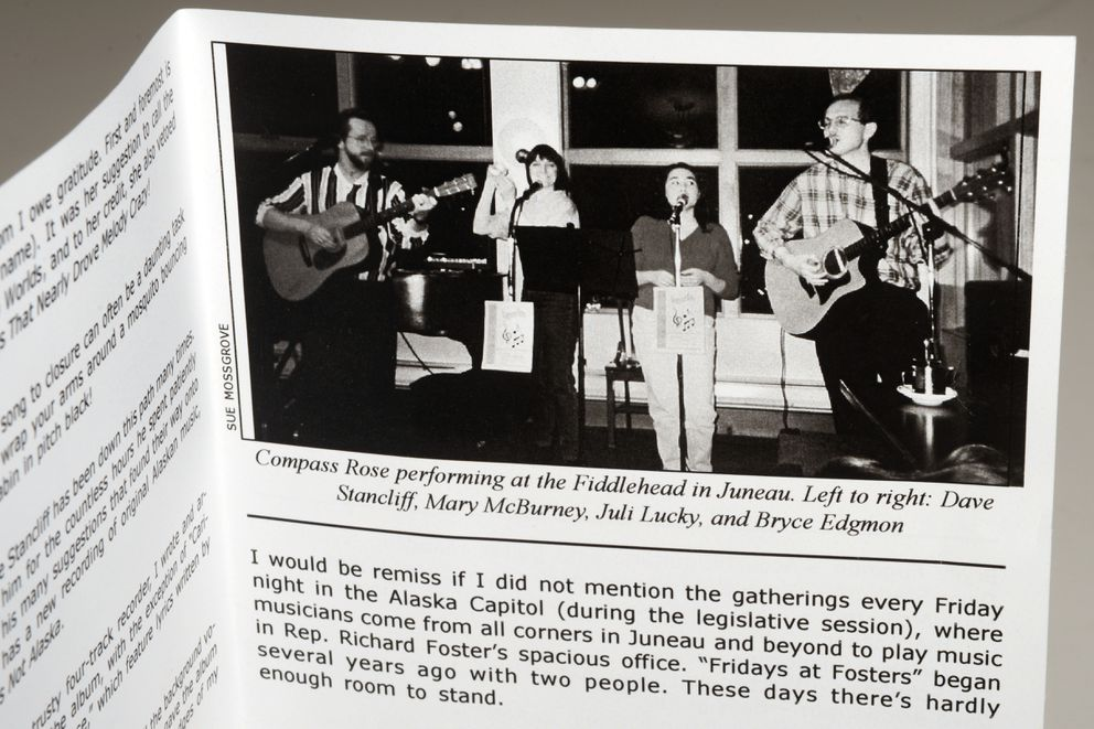 "The insert for Bryce Edgmon's 1999 CD ""One Heart, Two Worlds"" includes a photo of Edgmon, right, performing in Juneau with the group Compass Rose. (Erik Hill / Alaska Dispatch News)"