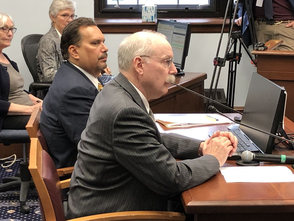 Sen. Bert Stedman, R-Sitka, testifies in front of the Senate Rules Committee on Monday, June 3, 2019. Next to Stedman is his aide, Pete Ecklund. (James Brooks / ADN)