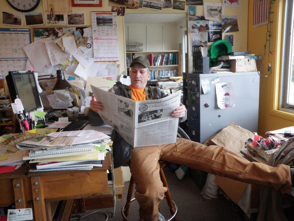 Tom Morphet at his desk at the Chilkat Valley News in Haines, Alaska. (Courtesy Tom Morphet.)