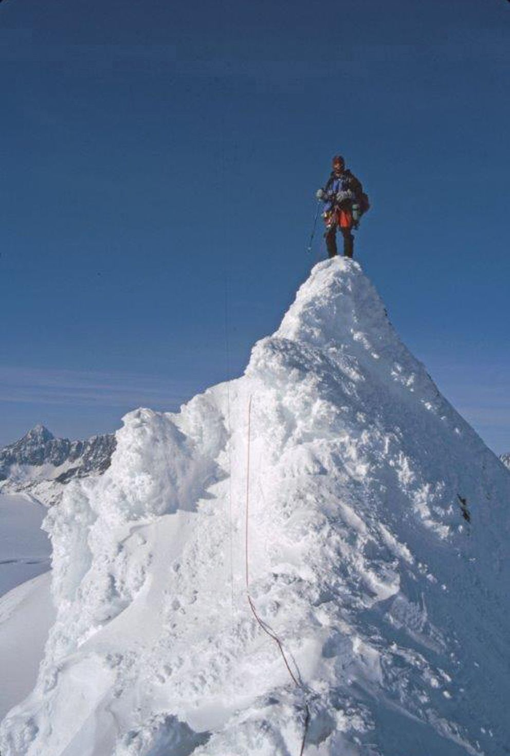 Wayne Todd on Whiteout Peak, along the Eklutna Traverse route, in 1997. (Photo by Kathy Still)