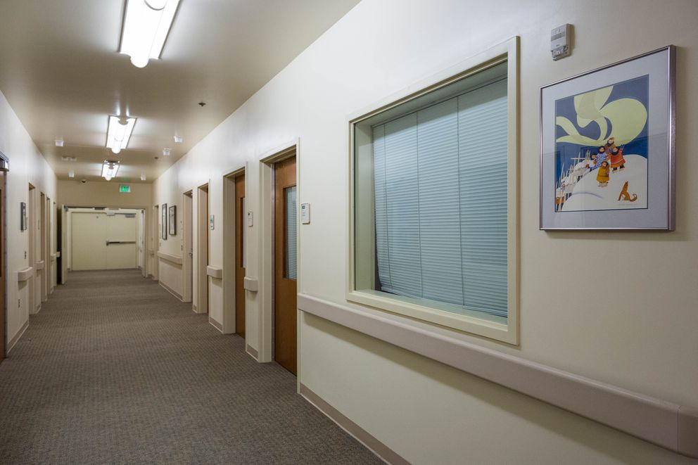 The Katmai unit hallway at the Alaska Psychiatric Institute on Wednesday, Jan. 6, 2016.  (Loren Holmes / ADN)