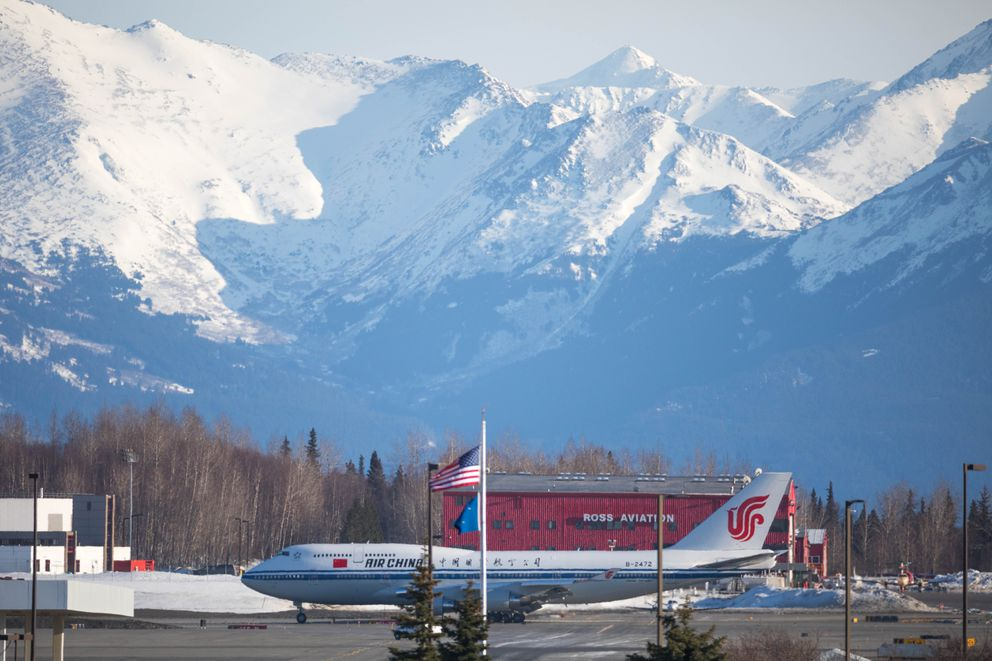 Chinese President Xi Jinping's plane landed in Anchorage at about 6:45 p.m. Friday. (Loren Holmes / Alaska Dispatch News)