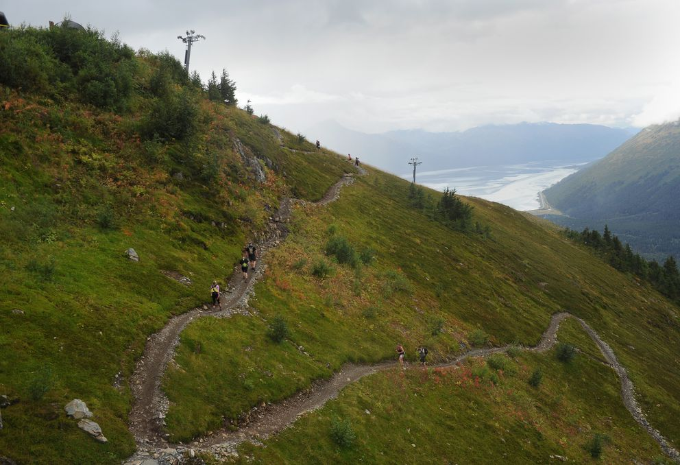 Runners make their way up the North Face switchbacks. (Bob Hallinen / Alaska Dispatch News)