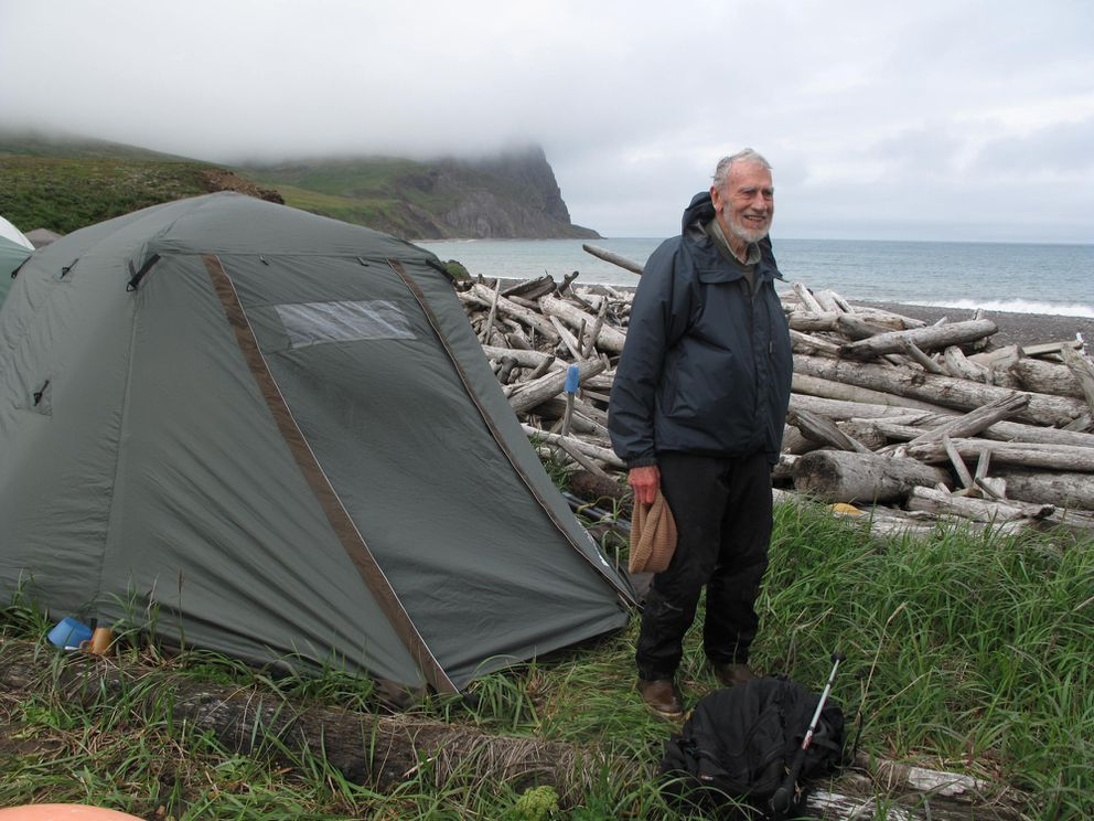 David Klein in front of his tent near Bull Seal Point on St. Matthew Island in 2012. (Photo by Ned Rozell)