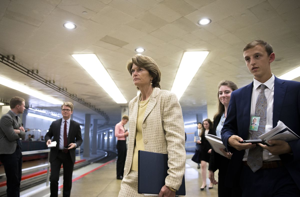 "Sen. Lisa Murkowski, R-Alaska, was one of seven Republicans who on Wednesday rejected a measure repealing major parts of the Affordable Care Act without replacement; the 45-55 defeat signaled that a ""clean repeal"" bill cannot get through Congress. (Tom Brenner / The New York Times)"