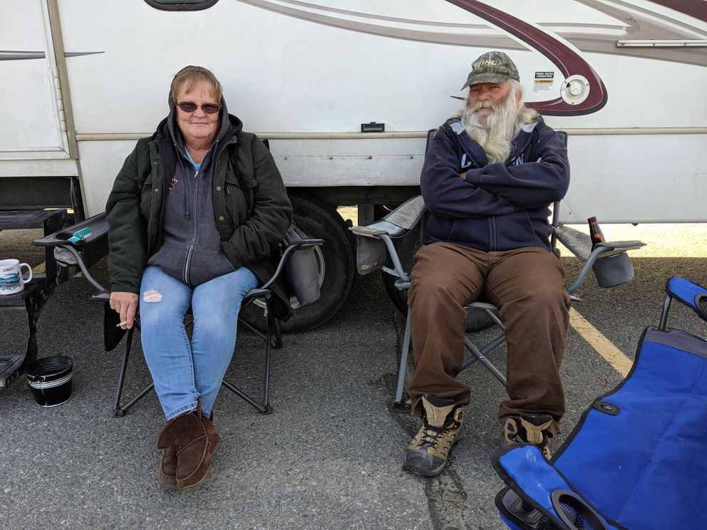 Lee Kirkham and Cindy Hopkins of Ohio retired in January and moved to Alaska where they are pursuing a dream of buying property in the Susitna Valley. They were evacuated from the the Susitna Landing RV Park at mile 82.5 of the Parks Highway on Sunday afternoon. They were supposed to close on the sale of a home this week, but don't know if it burned. Photographed Aug. 19, 2019 at the Menard Sports Center. (Michelle Theriault Boots / ADN)