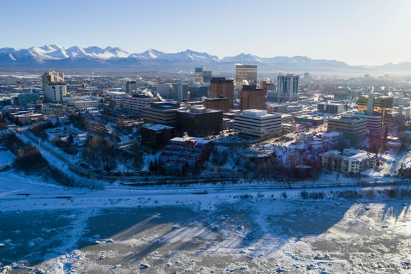 An aerial view of downtown Anchorage on Friday, Feb. 2, 2018. (Loren Holmes / ADN)