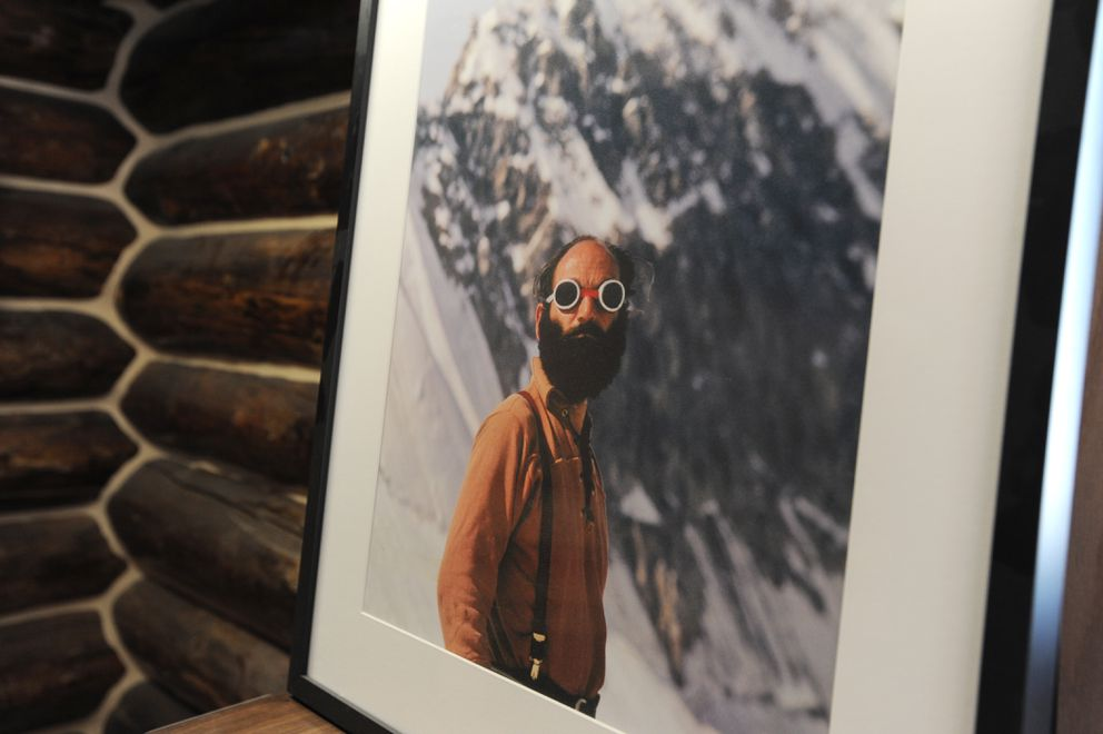 An image of Ray Genet is in the The High Expedition Co., poised to be a climbing museum and the first marijuana retail store on Main Street in Talkeetna. (Bill Roth / Alaska Dispatch News)