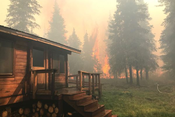 The Swan Lake fire burns close to the Romig Cabin, on the Resurrection Trail, while firefighters work to protect it, Aug. 28, 2019. (Alaska Fire Services)