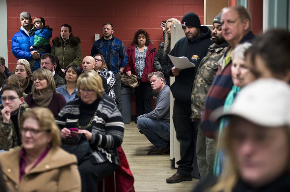 About 150 people filled a meeting room at the Menard Center in Wasilla for a Public Safety Town Hall Meeting with legislators, law enforcement representatives, citizens' groups and others on Wednesday, January 4, 2017. (Marc Lester / Alaska Dispatch News)