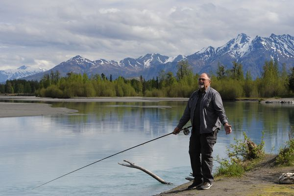 Glen Rouse who recently retired from teaching at Palmer High School enjoys the day while fishing for king salmon on the Knik River near the Eklutna Tailrace on Thursday, May 24, 2018. Rouse said,