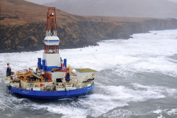 OPINION: Neither Shell nor federal regulators are ready for oil and gas exploratory drilling in Alaska's Arctic waters. Picutred: The conical drilling unit Kulluk, aground off Sitkalidak Island, about 40 miles southwest of the city of Kodiak.